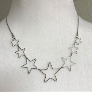 Silver toned star shape necklace cute trendy cut